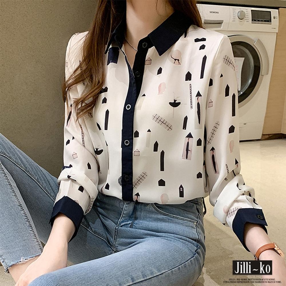 JILLI-KO 設計款印花混紡襯衫- 白色 (白色系)
