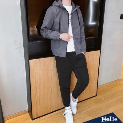 低調工業風連帽夾克+長褲套裝 三色-HeHa