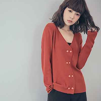 純色V領針織上衣/外套-OB大尺碼