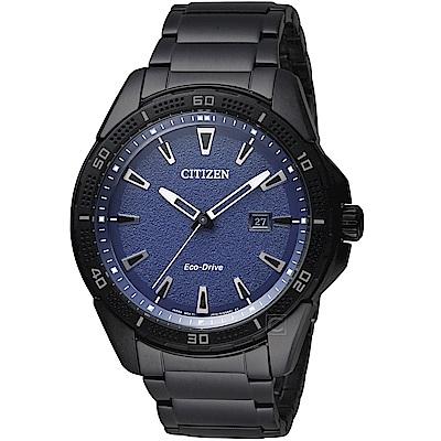 CITIZEN星辰潮流時尚光動能腕錶(AW1585-55L)-藍x黑