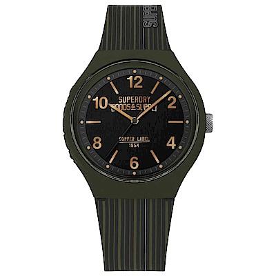 Superdry極度乾燥 Urban潮流時尚手錶-黑X綠/43mm
