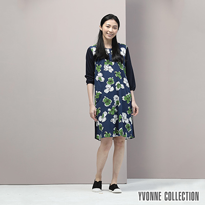YVONNE泡泡印花圓領七分袖洋裝- 深藍