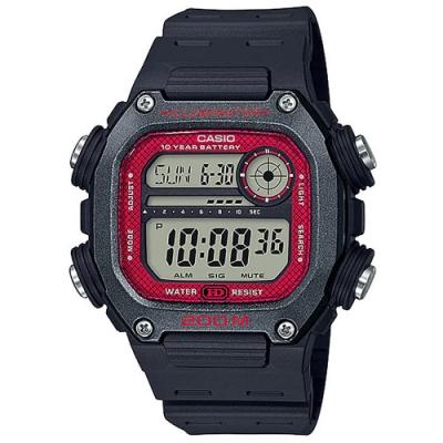 CASIO 粗曠男子強悍風格電子錶-深灰錶框x紅錶盤(DW-291H-1B)/50.5mm