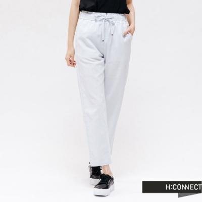 H:CONNECT 韓國品牌 女裝 -鬆緊抽繩亞麻寬褲 - 藍