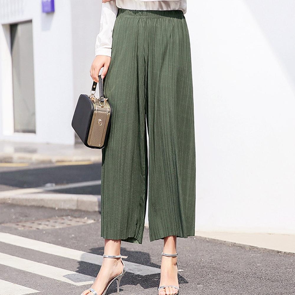 [韓國K.W.] 大家風範百摺褲 (綠)