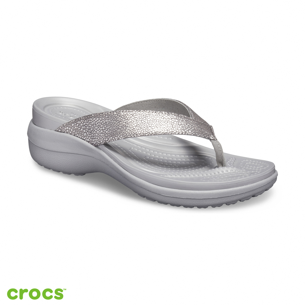 Crocs 卡駱馳 (女鞋) 卡沛兒亮面坡跟人字拖 205782-00N