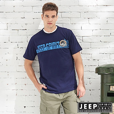 JEEP 造型文字轉印短袖TEE-藍色