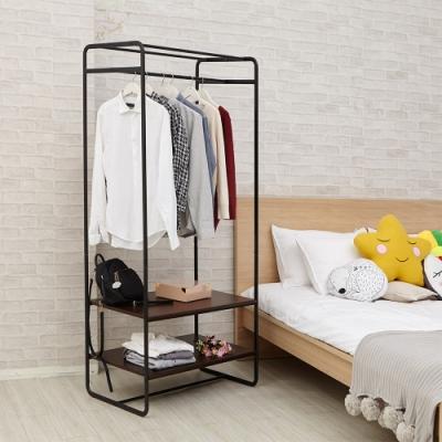 H&R安室家 台製工業風雙層板開放式掛衣架LS172A