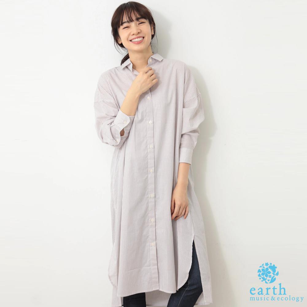 earth music 棉質襯衫式連身洋裝
