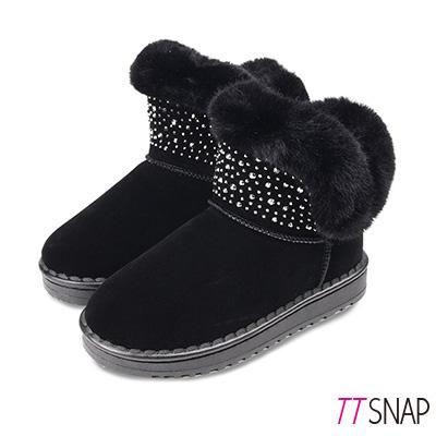 TTSNAP雪靴-鍍色水鑽閃亮仿牛麂皮中筒靴 黑