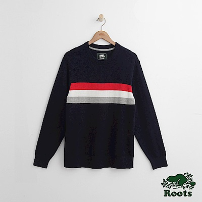 Roots 男裝- ROOTS 前胸條紋毛衣-藍