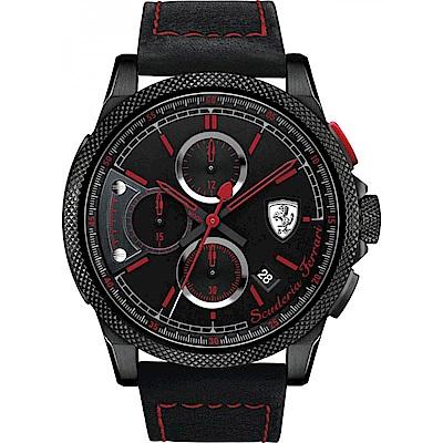 Scuderia Ferrari 法拉利 三眼計時輪胎紋腕錶-黑/46mm