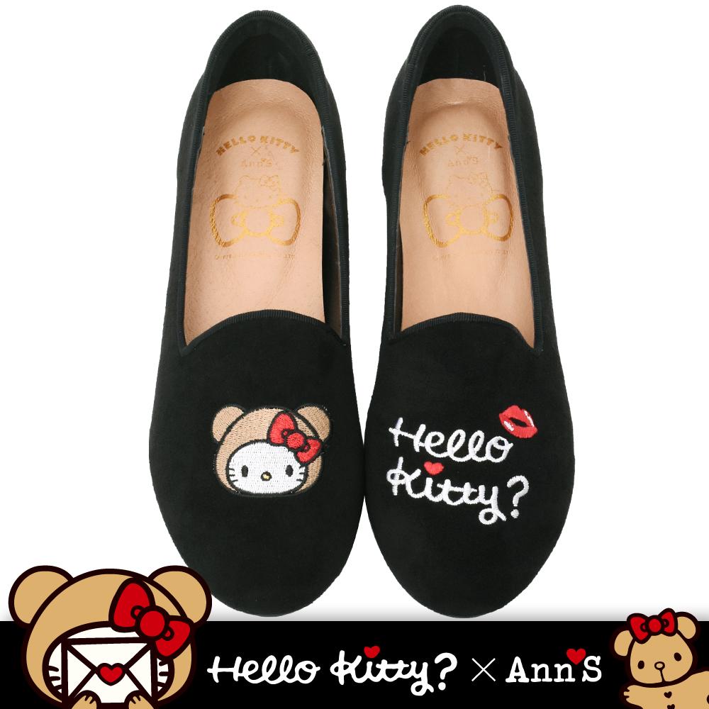 HELLO KITTY X Ann'S棕色熊熊不對稱彩色刺繡內增高樂福鞋-黑(版型偏大)