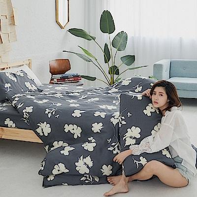 BUHO 100%TENCEL純天絲舖棉兩用被床包組-雙人(和花青居)