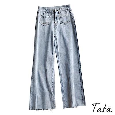 雙口袋抽鬚牛仔寬褲 TATA-(S~L)