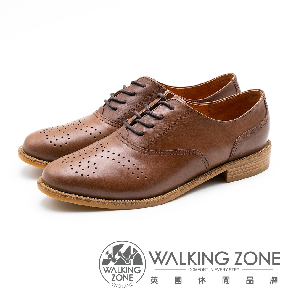 WALKING ZONE 壓花style牛津鞋 女鞋-棕(另有黑)