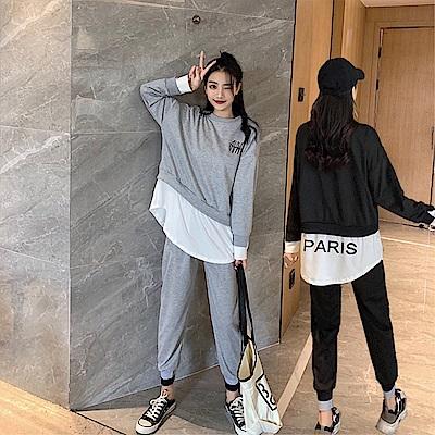 DABI 韓系假兩件套頭上衣束腳運動褲套裝長袖褲裝