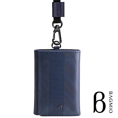 BAGMIO authentic 系列牛皮4卡三折式短夾-午夜藍(附織帶)