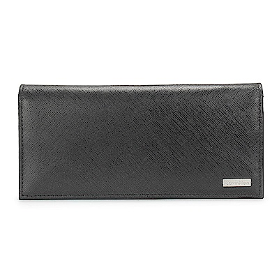 Calvin Klein 經典防刮皮革鐵牌LOGO長夾-黑色