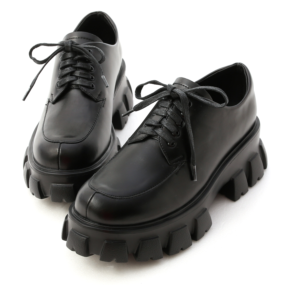 D+AF 視覺焦點.輕量鋸齒底綁帶牛津鞋*黑