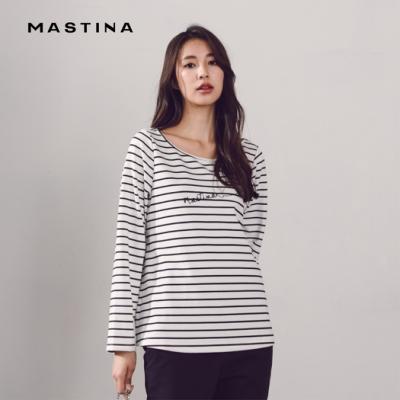 【MASTINA】刺繡LOGO條紋-上衣(二色)