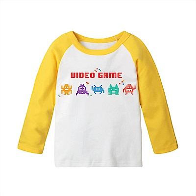 baby童衣 長袖上衣 純棉撞色自印T恤 66332