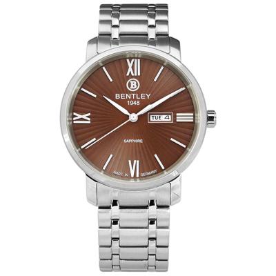 BENTLEY 賓利 放射錶盤 德國製造 藍寶石水晶玻璃 不鏽鋼手錶-咖啡色/40mm