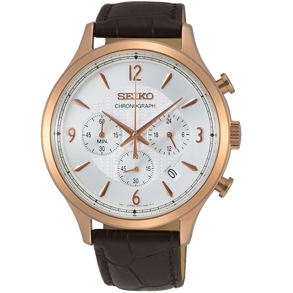SEIKO 精工CS計時碼表質感三眼腕錶(8T63-00M0K/SSB342P1)