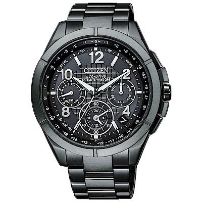 CITIZEN星辰 GPS衛星對時鈦金屬廣告男錶(CC9075-52F)-黑/43.5mm