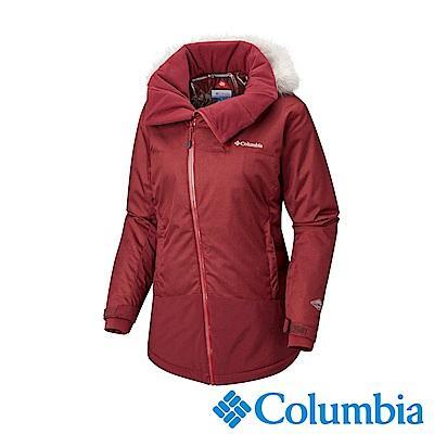 Columbia哥倫比亞 女款-Omni-HEAT鋁點保暖防水連帽外套-暗紅