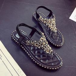 KEITH-WILL時尚鞋館 曼妙魅力水鑽羅馬夾腳拖鞋 黑