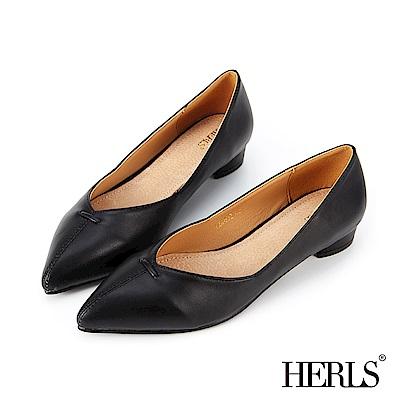 HERLS 簡約大方 內真皮縫線滾邊尖頭低跟鞋-黑色