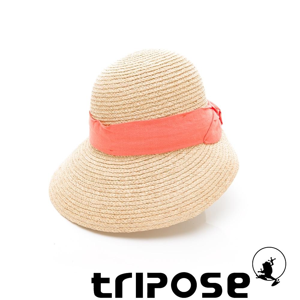 tripose INA 100% Raffia入門款不對稱設計草帽(飾帶-橘)