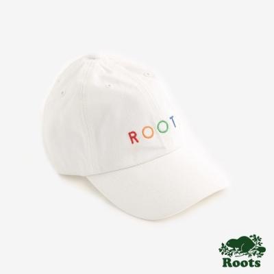 Roots配件- 彩色刺繡棒球帽-米白色
