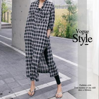 2F韓衣-格紋排扣側開衩洋裝-黑白格(M-XL)