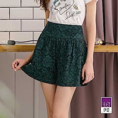 ILEY伊蕾 浪漫風縷空蕾絲短褲(綠)