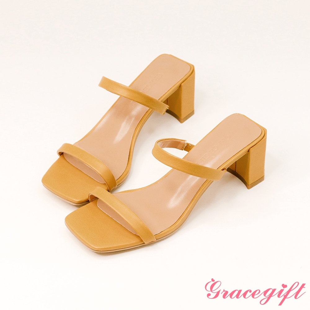 Grace gift-一字雙細帶高跟涼拖鞋 芥末黃