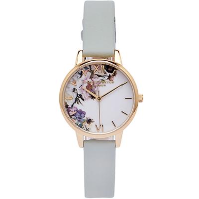 Olivia Burton 蜜糖花朵風皮革手錶(OB16EG112)-白面X灰綠/30mm
