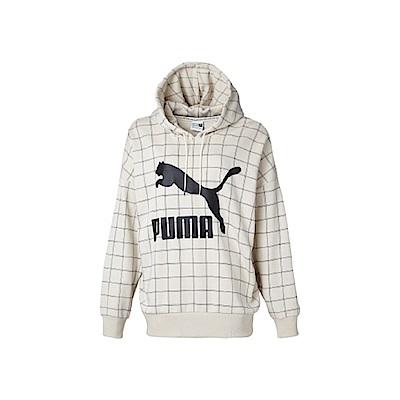 PUMA-女性流行系列PUMA織帶長厚連帽T恤-樺白-歐規