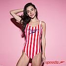 SPEEDO 女 Ice Cream 運動連身泳裝 粉紅條紋