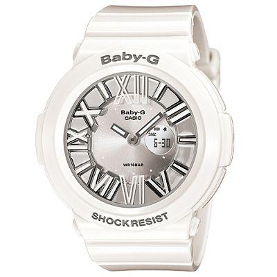 BABY-G 霓虹繽紛夜光羅馬簡約休閒錶(BGA-160-7B1)-銀白面/43mm