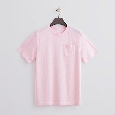 Hang Ten - 男裝 -有機棉 口袋造型竹節T恤-粉紅色