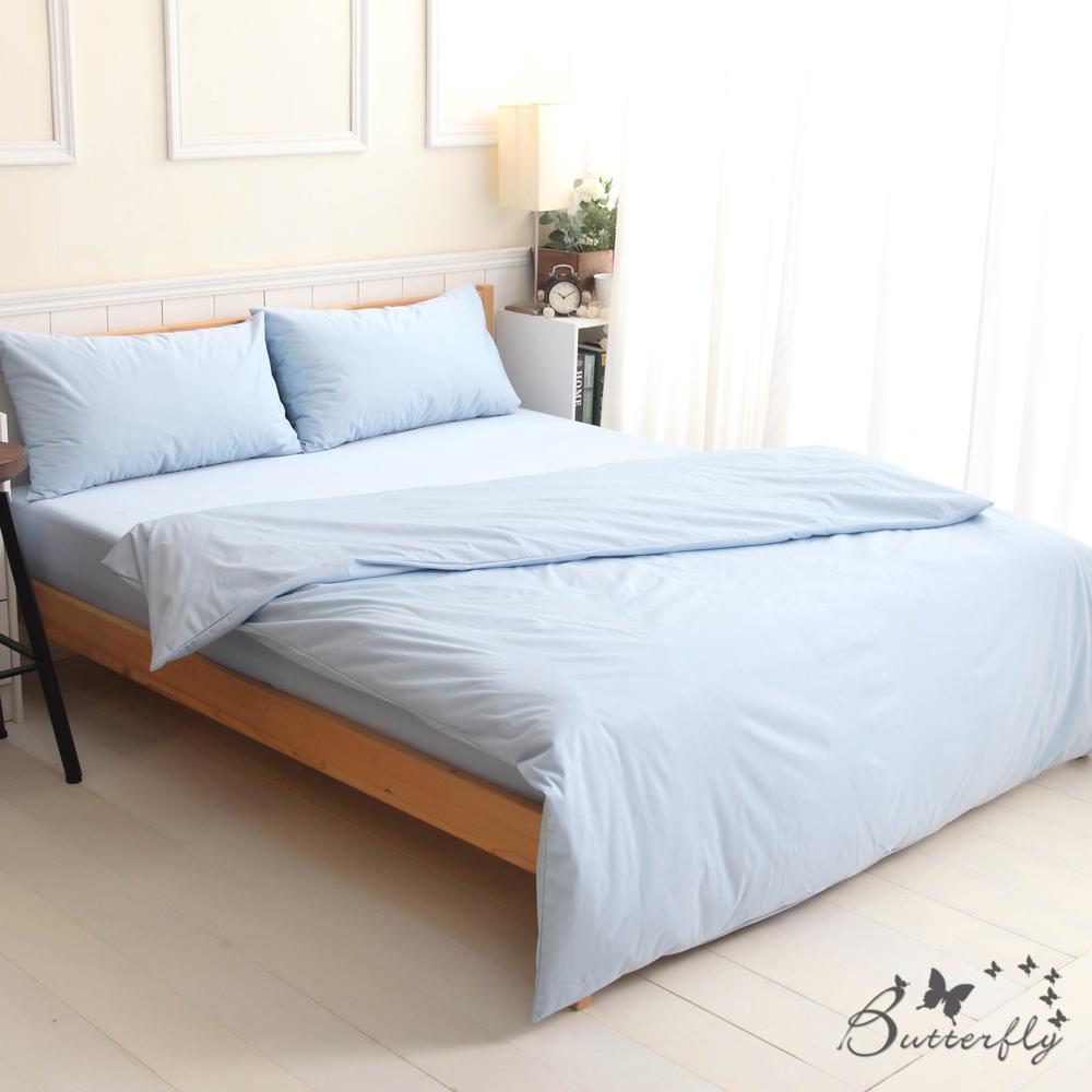 BUTTERFLY-SGS專業級認證抗菌高透氣防水保潔墊-雙人床包四件組-藍色