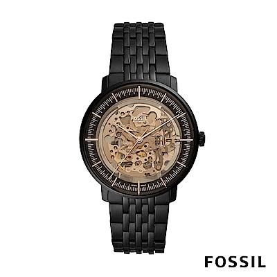 FOSSIL CHASE 黑色不鏽鋼透視機械男錶 42mm ME3163