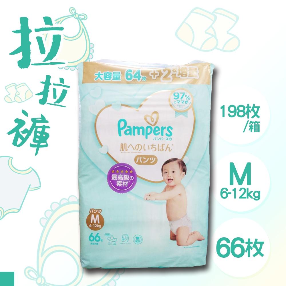 日本 PAMPERS 境內版 拉拉褲 褲型 尿布 M 66片x3包 箱購