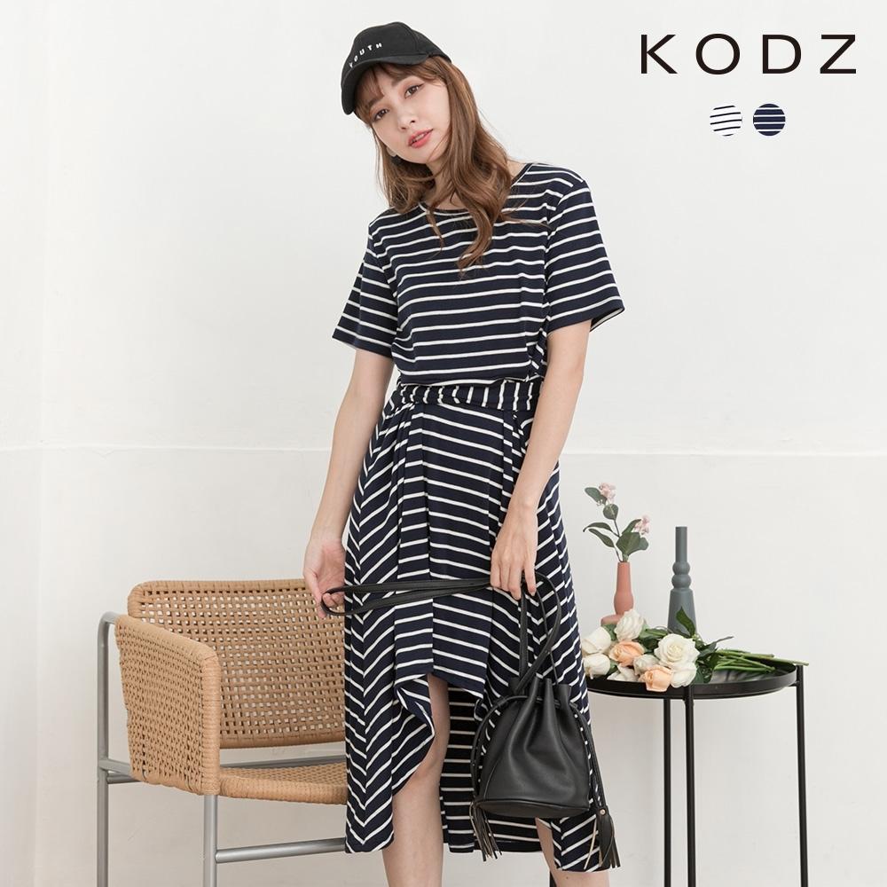 東京著衣-KODZ 休閒舒適橫條紋綁帶不規則洋裝-S.M.L(共二色)