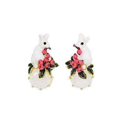 Les Nereides 動物花園系列 小白兔與莓果寶石耳環
