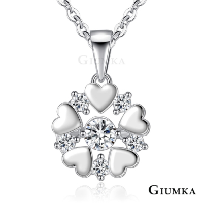 GIUMKA跳舞石項鍊925純銀心連心女短鏈浪漫櫻雪(三色任選)