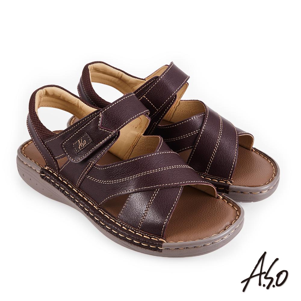 A.S.O 機能休閒 手縫氣墊雙縫厚底休閒男涼鞋-咖啡