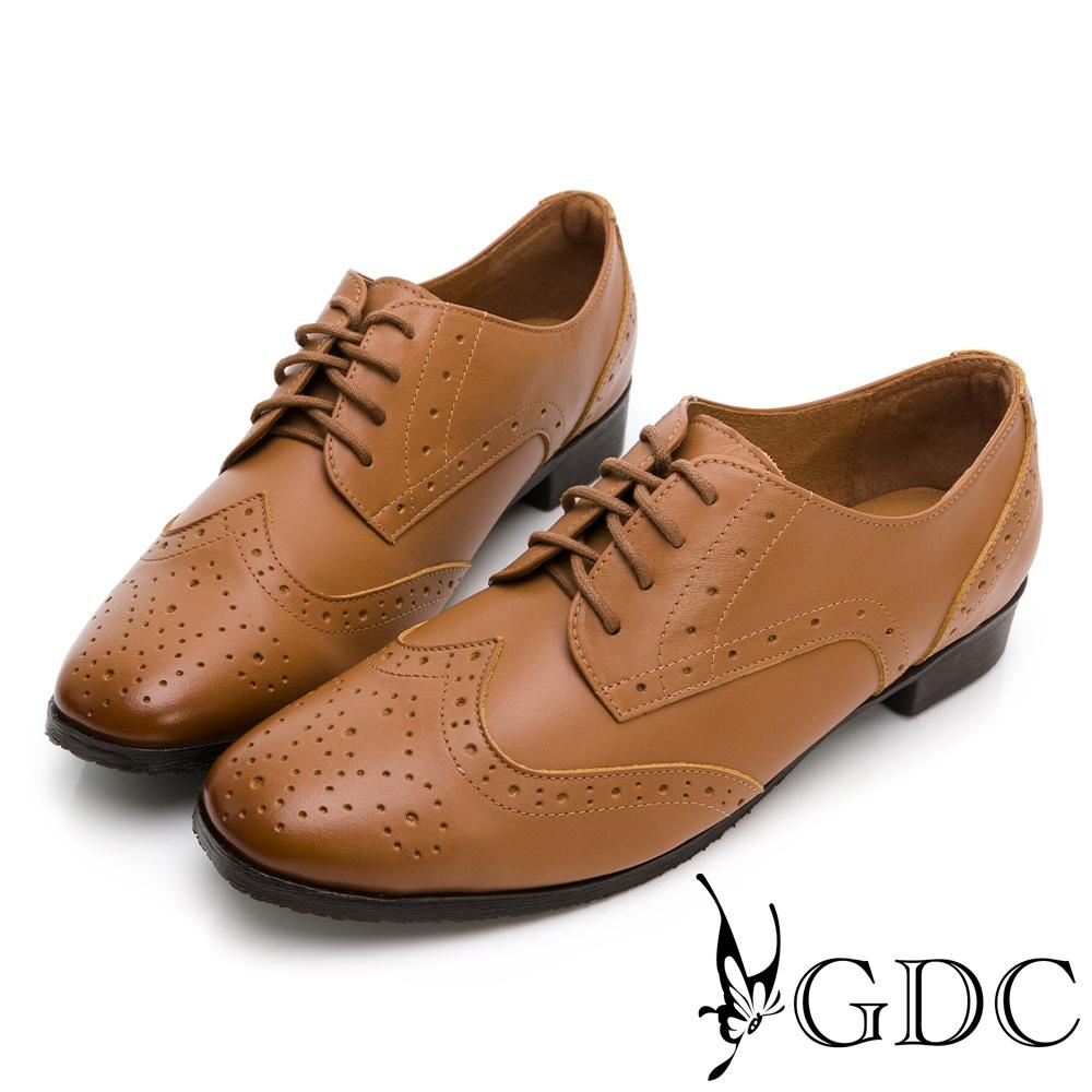GDC-真皮經典英倫雕花綁帶素色百搭牛津鞋-棕色